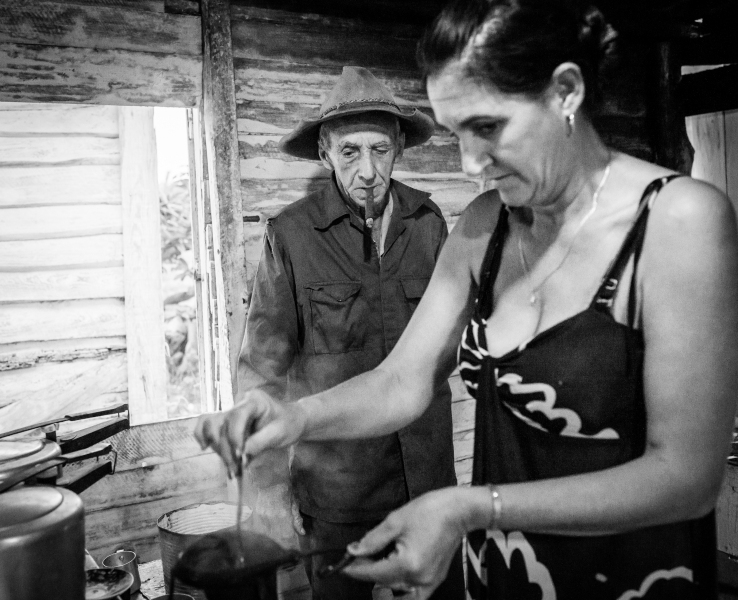 Fixing morning coffee in Vinales Cuba