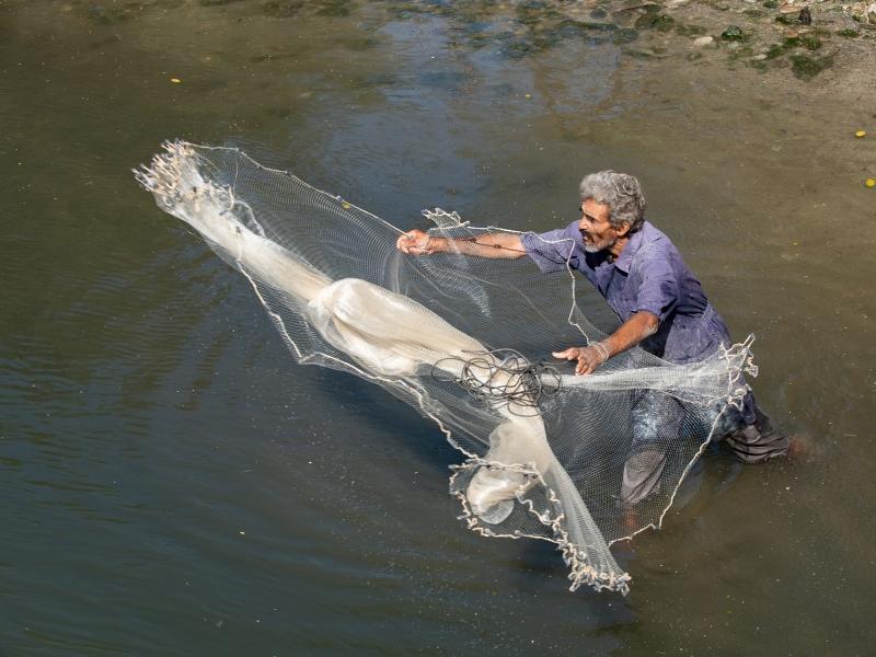 Cuban fisherman casting net