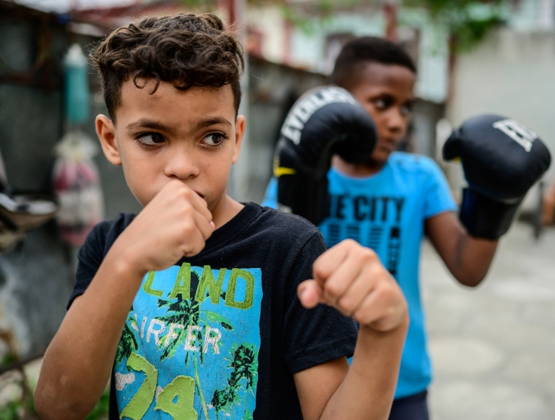 Boy in boxing club, Havana